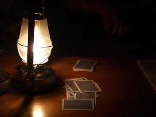cards by lantern light