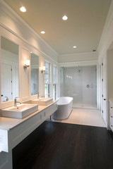 expensive bathroom in white and glass