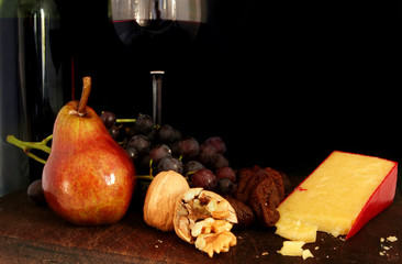 fruit, nuts, cheese and wine