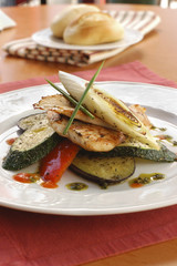 chicken fillet with fry vegetables