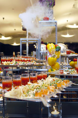 catering food on the buffet