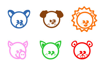 animals colour icons