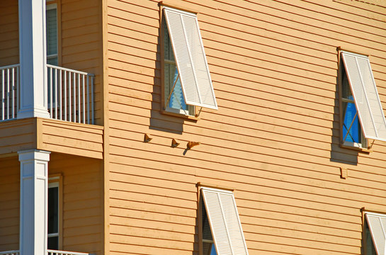 coastal home with storm shutters