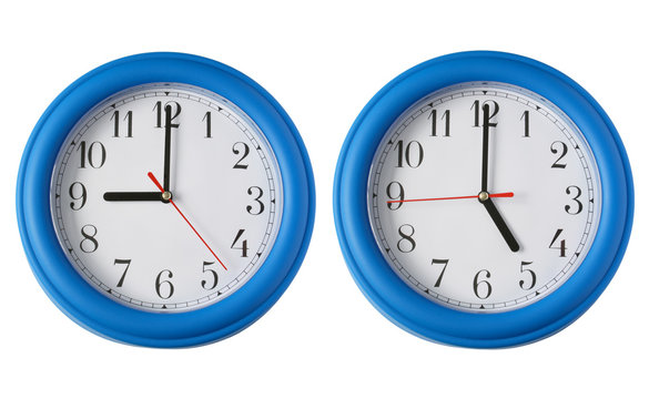 working 9 to 5.  two clocks, one on 9am and one on
