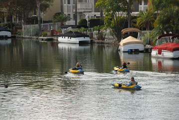 3 kayakers on the lake