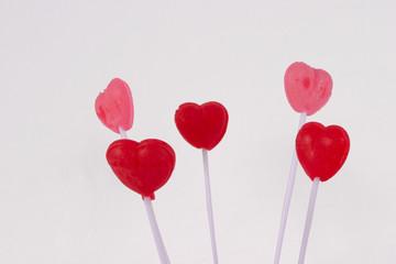 valentine lollipops on white