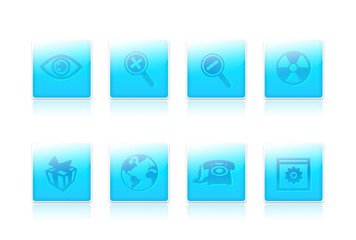 eight blue  icons