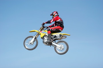 dirtbike jumping in the air