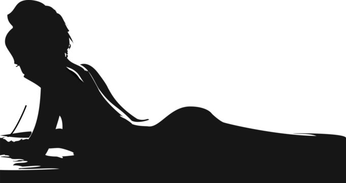nude written girl silhouette