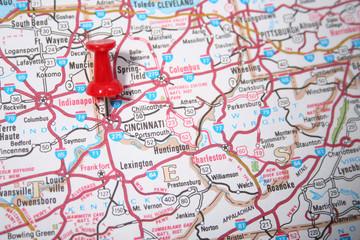 cincinnati, ohio on the map
