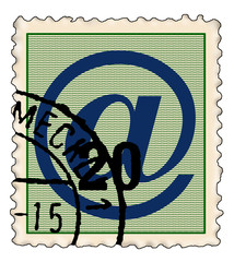 stamp with @ symbol blue
