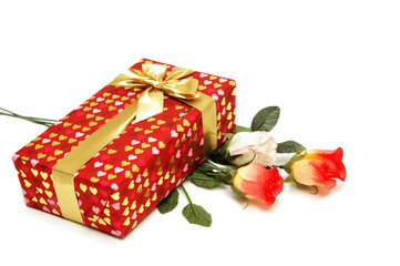 gift box and bunch of flowers isolated on white