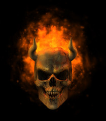 flaming demon skull