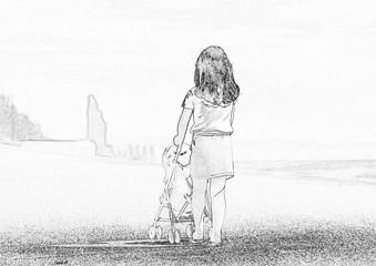 petite fille et sa poussette