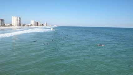 long view of surfers