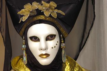 black eye on white mask