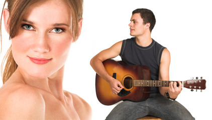 face of a beautiful nude woman with man playing gu