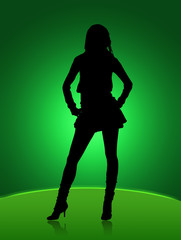 girl sexy black silhouette in night club lights