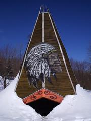 Printed kitchen splashbacks Indians wooden tent
