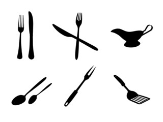 black kitchen icons and silhouettes