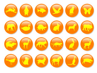 orange and yellow icons with animal shapes