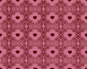 background with glamour hearts and ornament