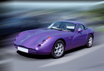 Printed roller blinds Fast cars purple sports car