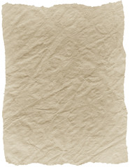 old textured paper with torn edges on white