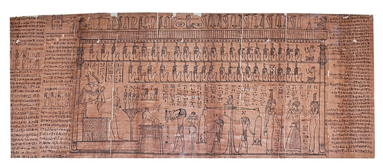papyrus painting with multiplhieroglyph and pharao