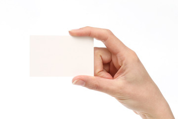 woman holding a business card