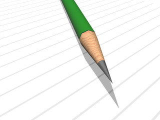 green pencil on note pad
