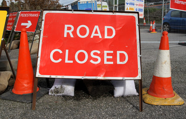 british road closed sign.