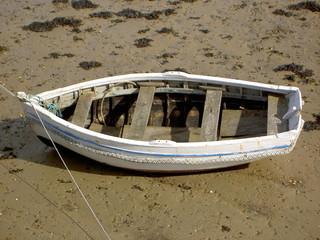 barque bleue et blanche