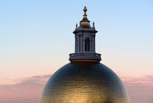 massachusetts statehouse dome at sunrise
