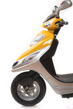 yellow electric scooter