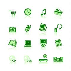 green e-commerce icons