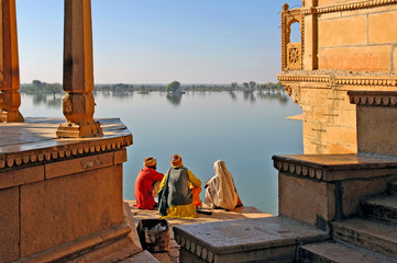 Tuinposter India india, rajasthan, jaisalmer: the lake near jaisalmer