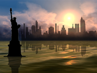 statue of liberty & newyork city sunset