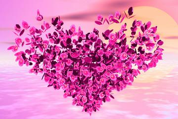 flower heart in the horizon
