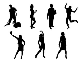 seven people silhouettes