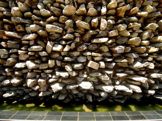 pointed rocks in a wall