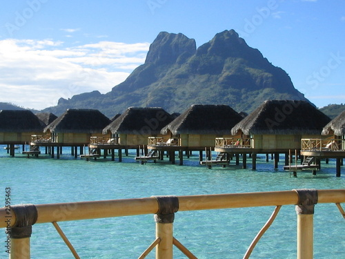 Bora Bora Overwater Bungalows Stock Photo And Royalty Free