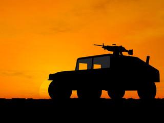 vehicle over sunset