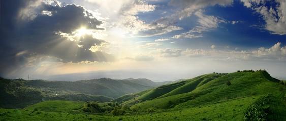 clouds, sunbeam and hills