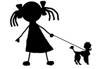 girl and poodle