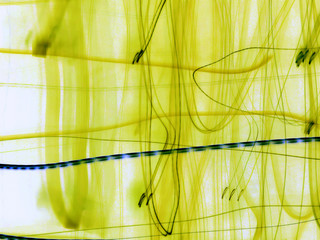 yellow abstraction with blue line