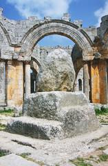 column of simeon stylites in ruins of basilica