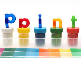 paint letters, paper samples and water color paints