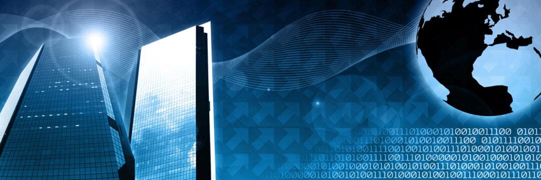 global business technology header template concept