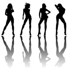 silhouettes féminines er reflets
